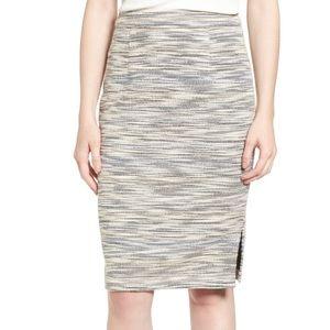 Ivory tweed pencil skirt
